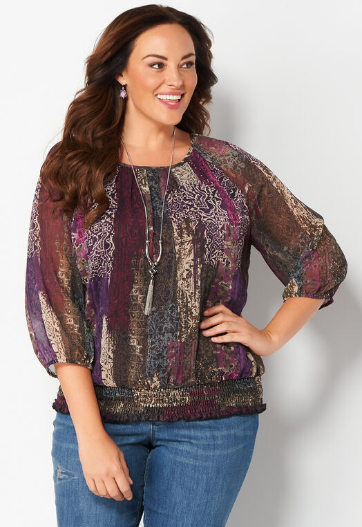 Patchwork Tapestry Plus Size Blouse at Christopher & Banks in Charleston, WV | Tuggl