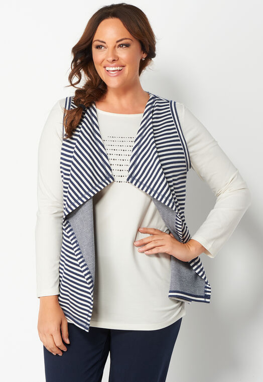 Relaxed Restyled Striped Drape Plus Size Vest at Christopher & Banks in Charleston, WV | Tuggl