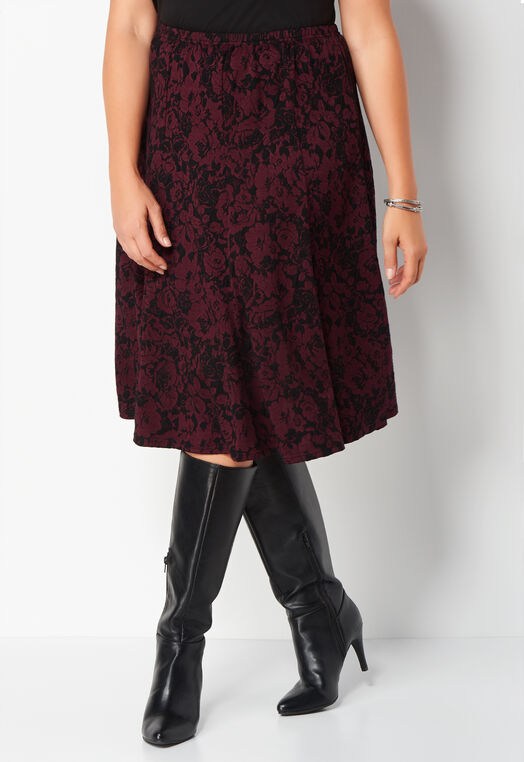 Floral Jacquard Plus Size Flutter Skirt at Christopher & Banks in Charleston, WV | Tuggl