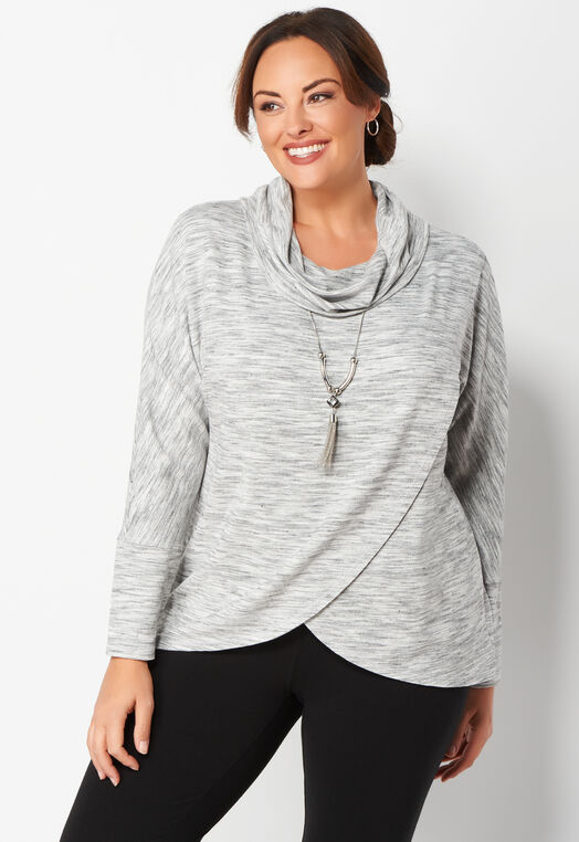 Relaxed Restyled Crossover Cowl Neck Plus Size Top at Christopher & Banks in Charleston, WV | Tuggl