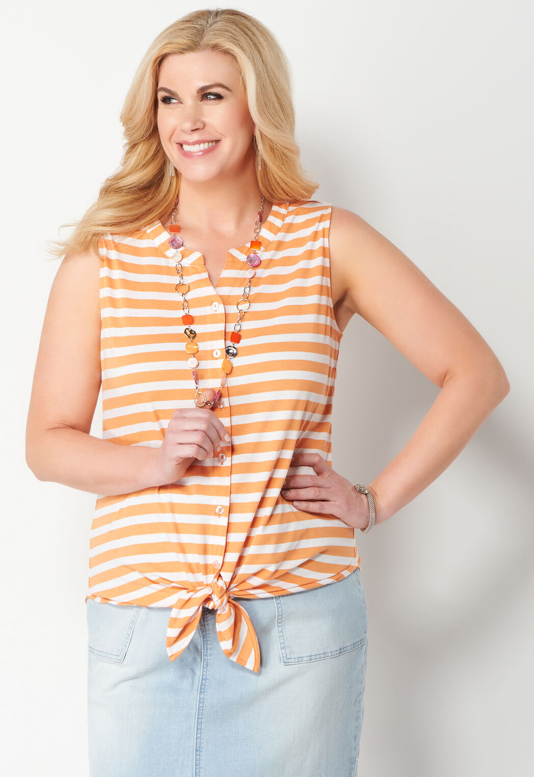 39ee3cf375f ... Tie-Front Striped Knit Plus Size Top. add to wish list · add to wish  list