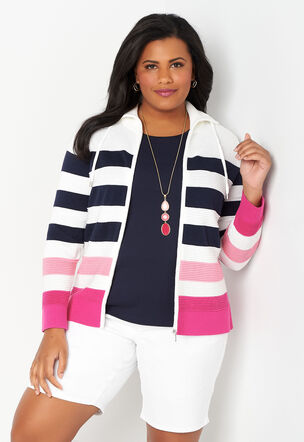 33d2959235 Stripe Ottoman Zip Up Plus Size Cardigan Sweater
