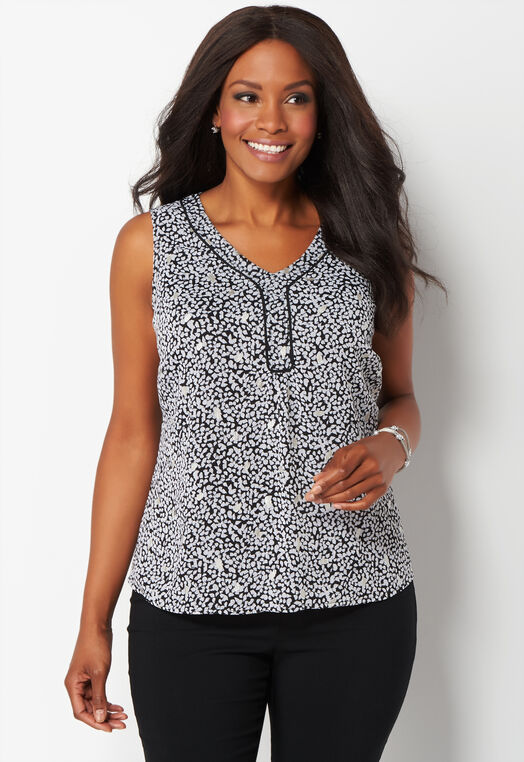 Metallic Flourish Printed Plus Size Shell at Christopher & Banks in Charleston, WV | Tuggl