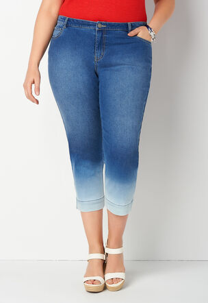 579aa908586 Dip Dye Plus Size Denim Capri