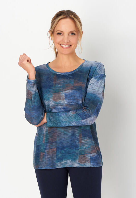 Relaxed Restyled Textured Print Top