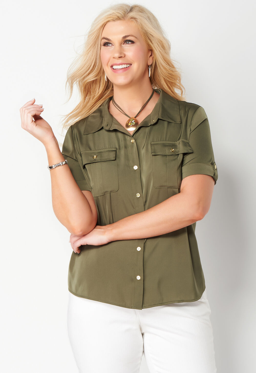 aba591f052 Women s Solid Utility Blouse from CJ Banks®