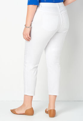 b97d18fa10d4a Signature Slimming White Denim Plus Size Ankle Jeans - CBK Web Store