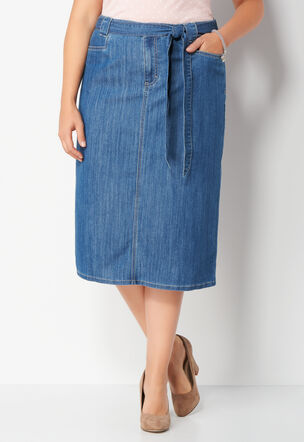1281ae4810d75 Belted Denim Plus Size Skirt