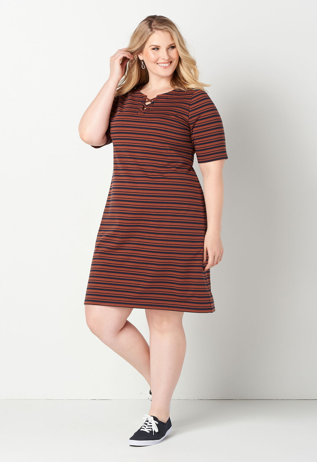Relaxed Restyled Lace Neck Striped Plus Size Dress - CBK Web ...