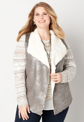 704767cce8a Women s Faux Fur Lined Metallic V from CJ Banks®