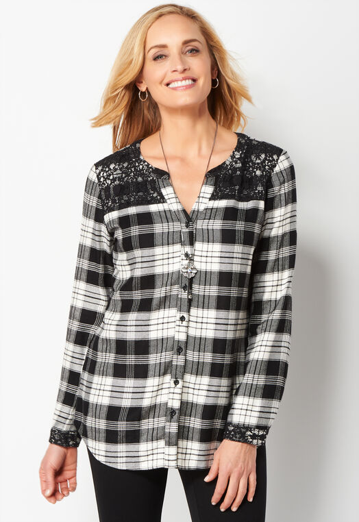 Lace Mix Plaid Tunic at Christopher & Banks in Charleston, WV | Tuggl