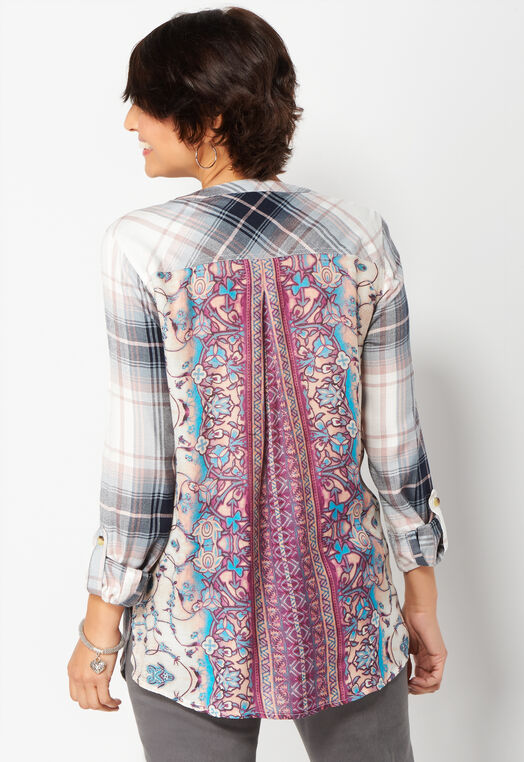 Pleat Back Plaid Mix Henley at Christopher & Banks in Charleston, WV | Tuggl