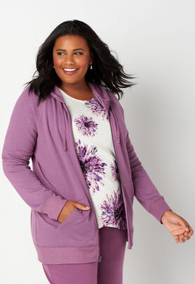 324e0ba52cd8bf Relaxed Restyled Plus Size Hooded Textured Zip Up With Rib Trim ...