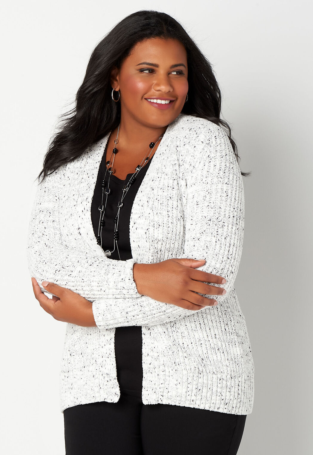 Flecked Chenille Sweater Plus Size Outfit Cbk Web Store