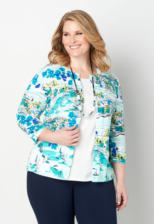 cc5036107ff Perfect Scenic Printed Plus Size Cardigan
