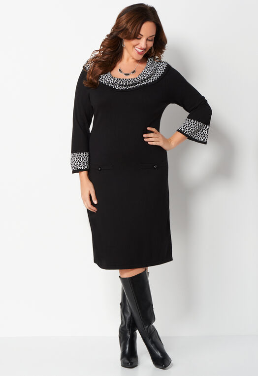 Cowl Neck Jacquard Plus Size Sweater Dress at Christopher & Banks in Charleston, WV | Tuggl