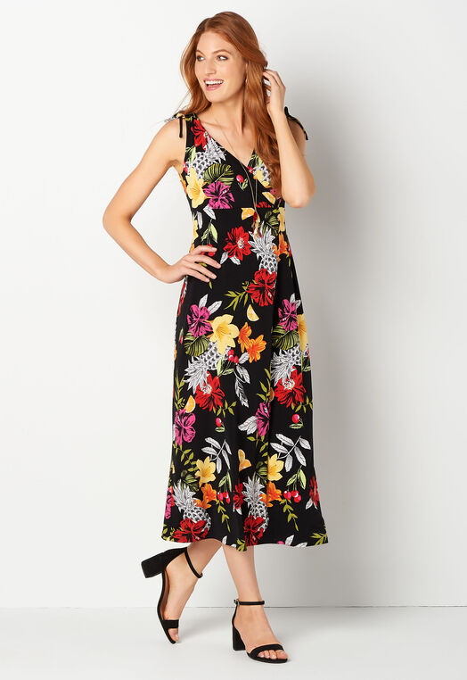 Sleeveless Tropical Printed Maxi Dress