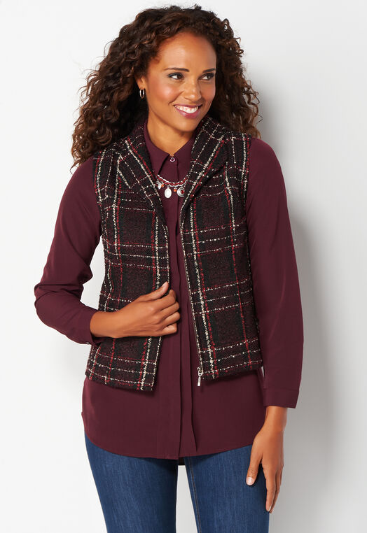 Plaid Vest at Christopher & Banks in Charleston, WV | Tuggl