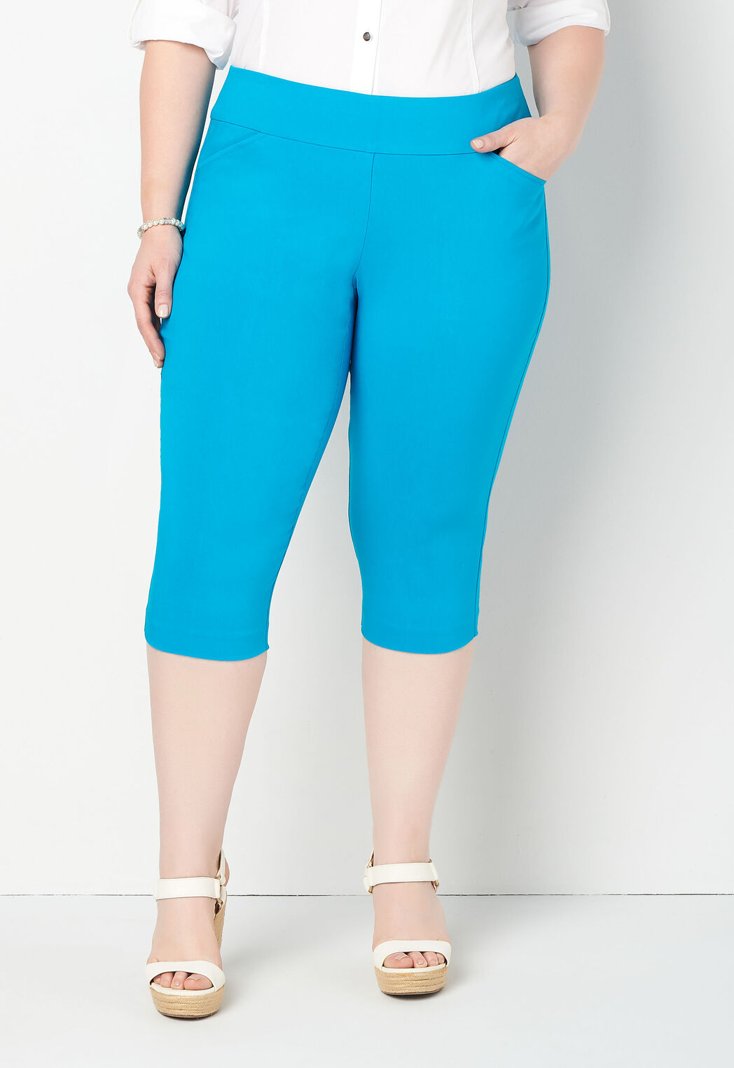 bcfa43b2b3f Women s Ss Bengaline Capri Solid from CJ Banks®