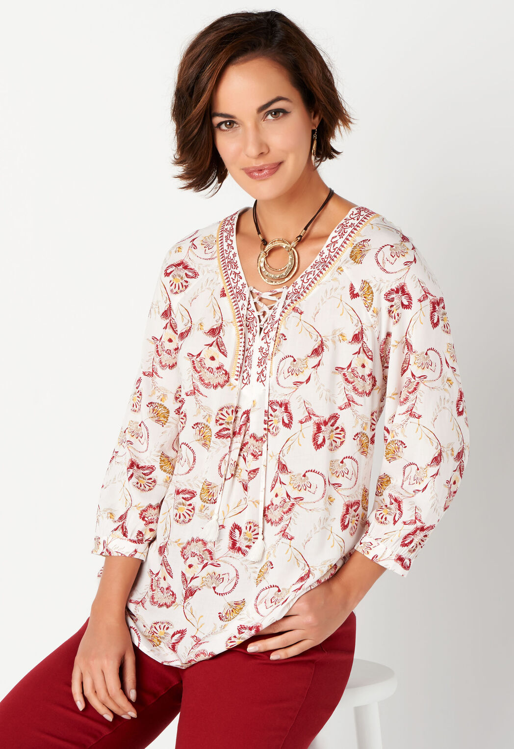 d3388b134c2 Women's Embr Neck Printed Blouse from Christopher & Banks®