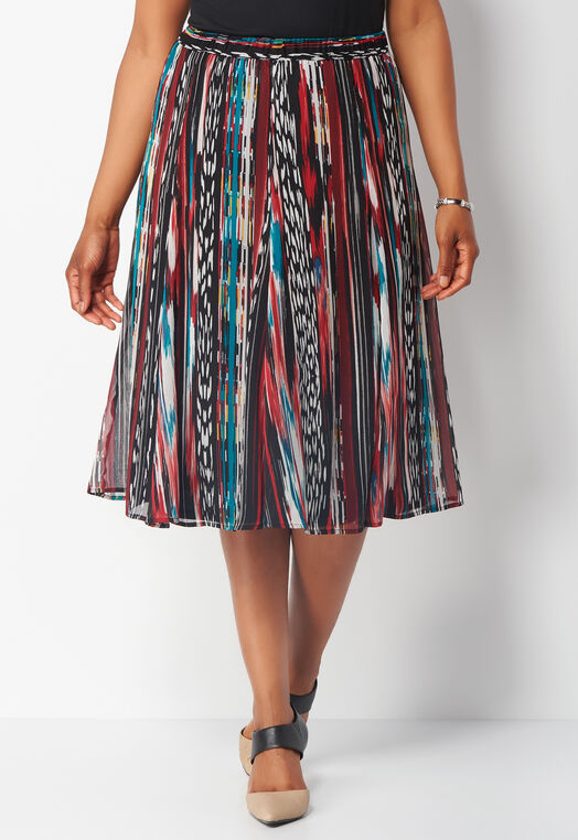 Geo Safari Printed Yoryu Plus Size Skirt at Christopher & Banks in Charleston, WV | Tuggl