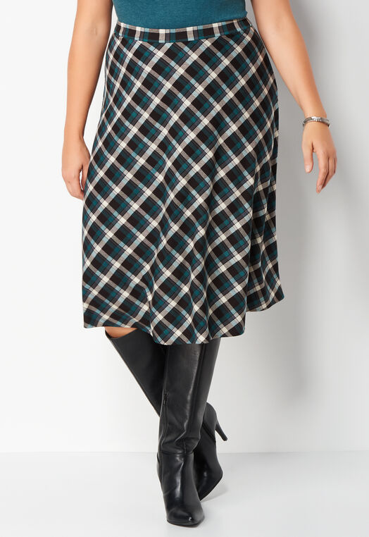 Mini Plaid Plus Size Double Knit Skirt at Christopher & Banks in Charleston, WV | Tuggl