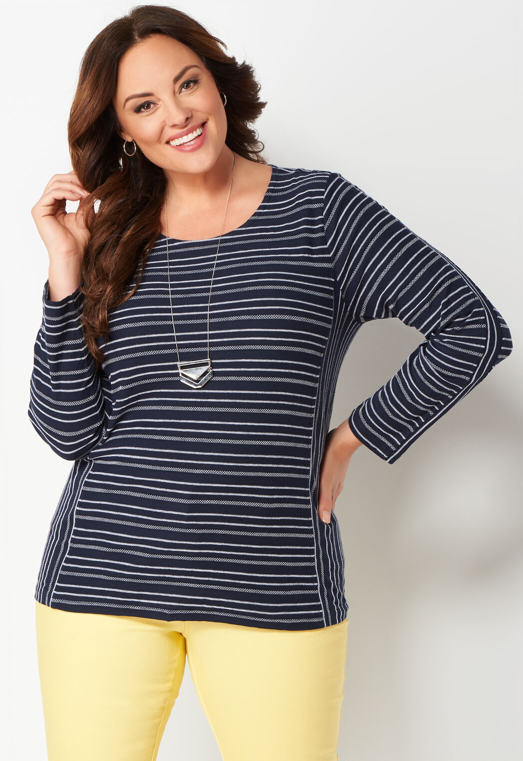 women's textured stripe plus size knit top from christopher