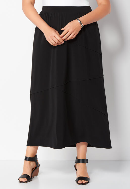 Easy Wear Solid Pieced Plus Size Maxi Skirt at Christopher & Banks in Charleston, WV | Tuggl