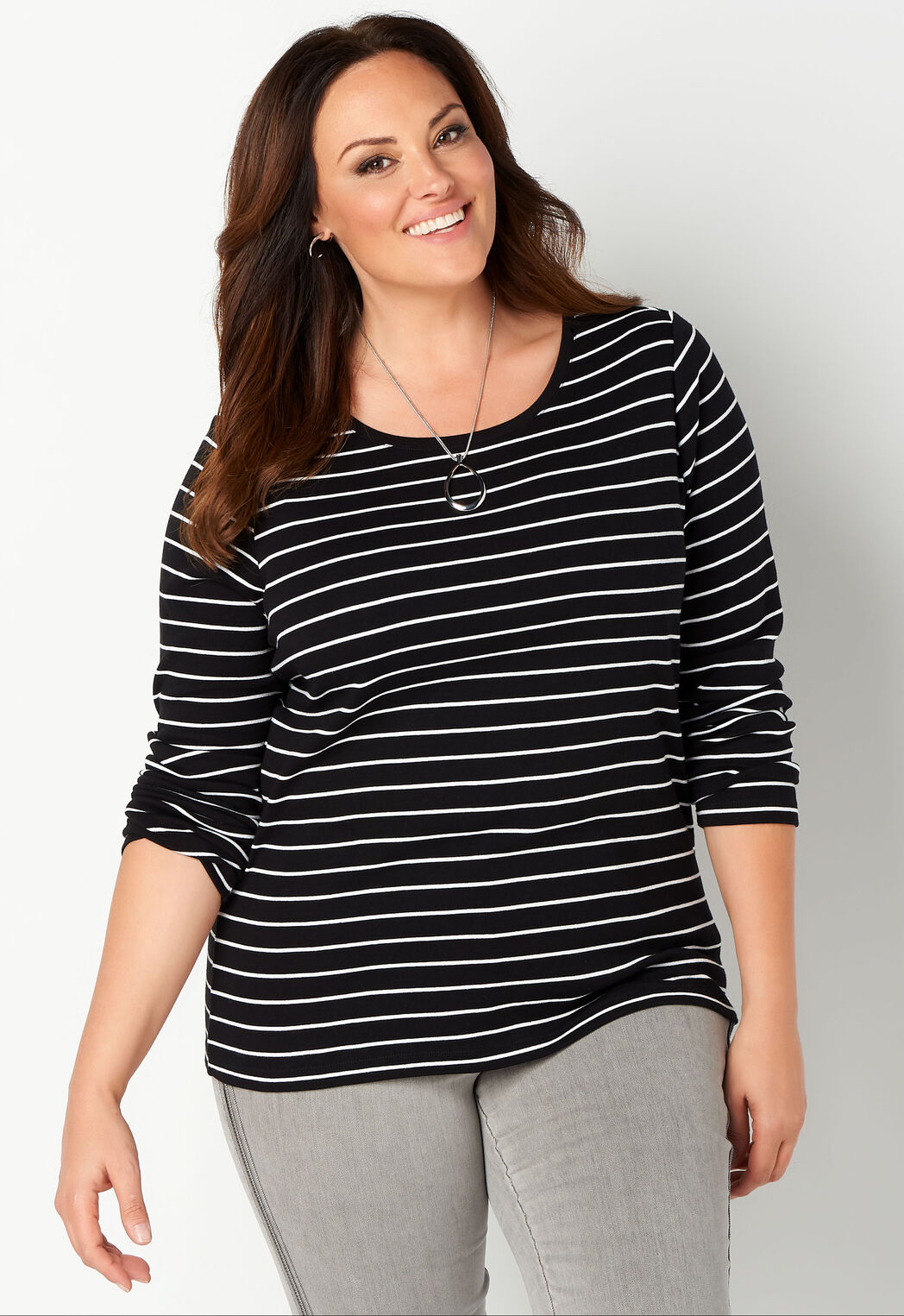 91f171b11a8 ... Tops Long Sleeve Stripe Essential Crewneck Plus Size Tee. add to wish  list · add to wish list