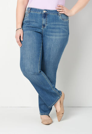 31c7c14957d Flower Detail Back Pocket Plus Size Jean