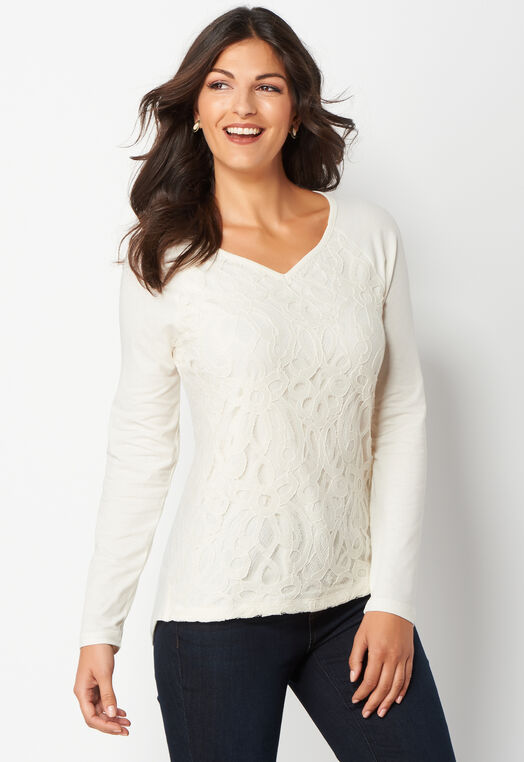 Lace Front Petite Knit Top at Christopher & Banks in Charleston, WV | Tuggl