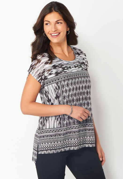 Patched Geo Printed Mesh Petite Knit Poncho at Christopher & Banks in Charleston, WV | Tuggl