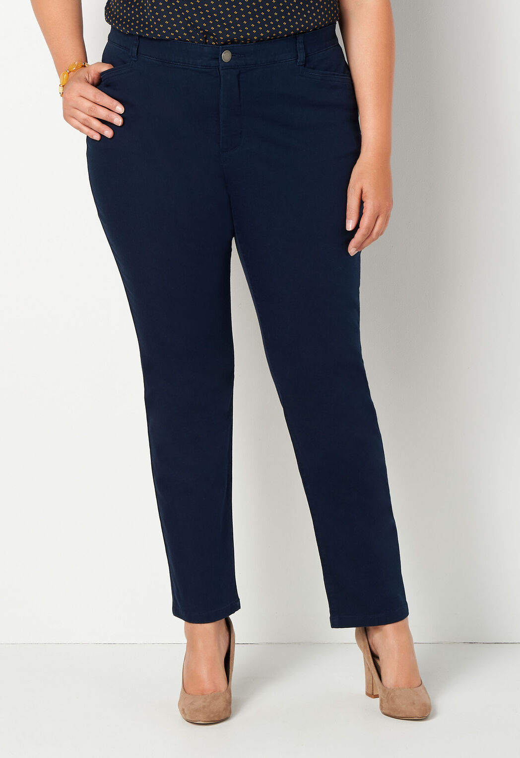 9d3341aa81211 Signature Slimming Tapered Leg Colored Denim Plus Size Pant Average ...