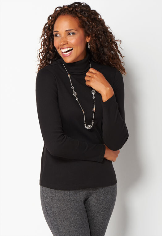 Long Sleeve Turtleneck Essential Knit Tee at Christopher & Banks in Charleston, WV | Tuggl