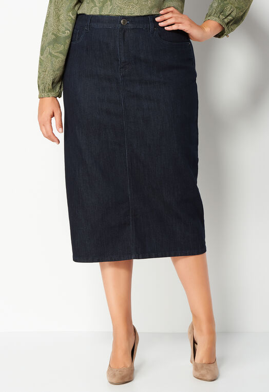 Zip Pocket Detail Plus Size Denim Skirt at Christopher & Banks in Charleston, WV | Tuggl