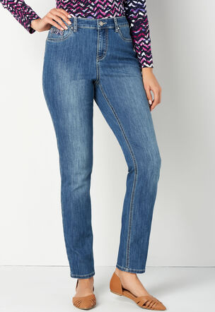d806cf18234 Pieced Embroidered Back Pocket Tapered Leg Jean Petite