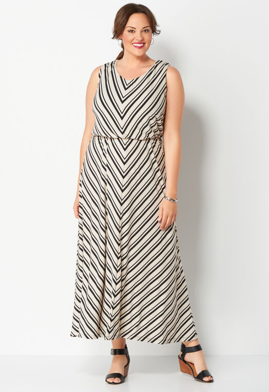 Mitred Stripe Maxi Plus Size Dress at Christopher & Banks in Charleston, WV | Tuggl