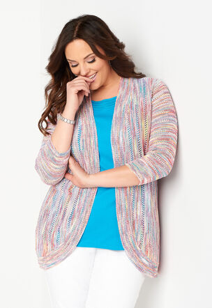 f134d8cf99 Multi Color Open Knit Plus Size Cardigan