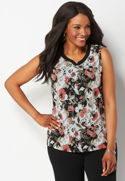 Easy Wear Dancing Floral Printed Plus Size Tank at Christopher & Banks in Charleston, WV | Tuggl