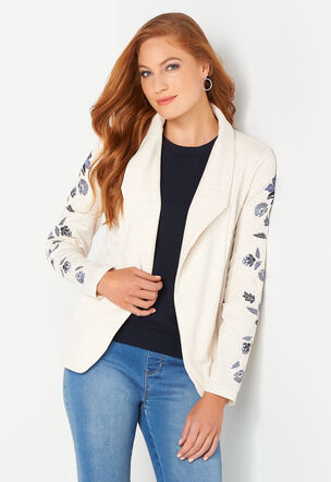 9975668e4ae Embroidered Knit Open Jacket