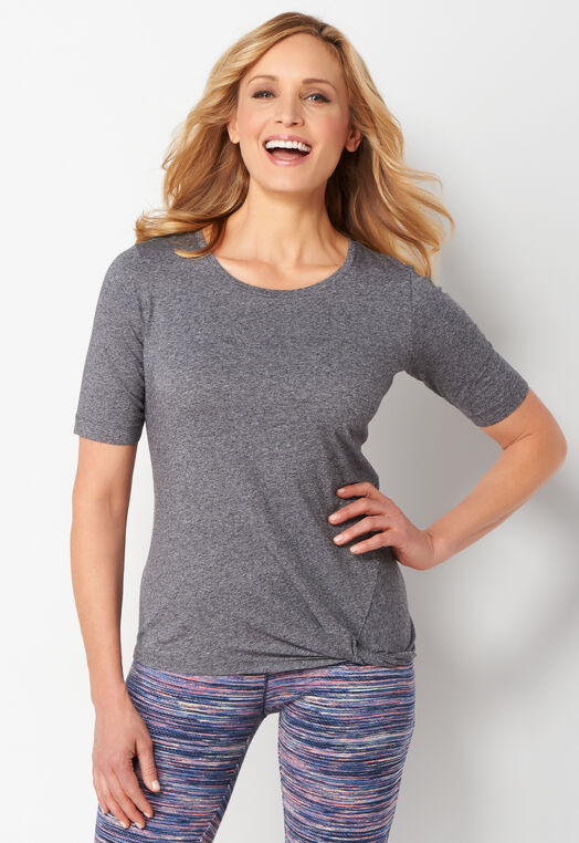 Relaxed Restyled Heathered Twist Petite Tee at Christopher & Banks in Charleston, WV | Tuggl