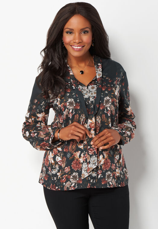 Tie Front Floral Plus Size Blouse at Christopher & Banks in Charleston, WV | Tuggl