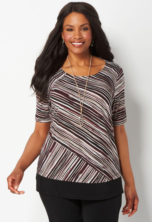Easy Wear Graphic Stripe Short Sleeve Plus Size Top at Christopher & Banks in Charleston, WV | Tuggl