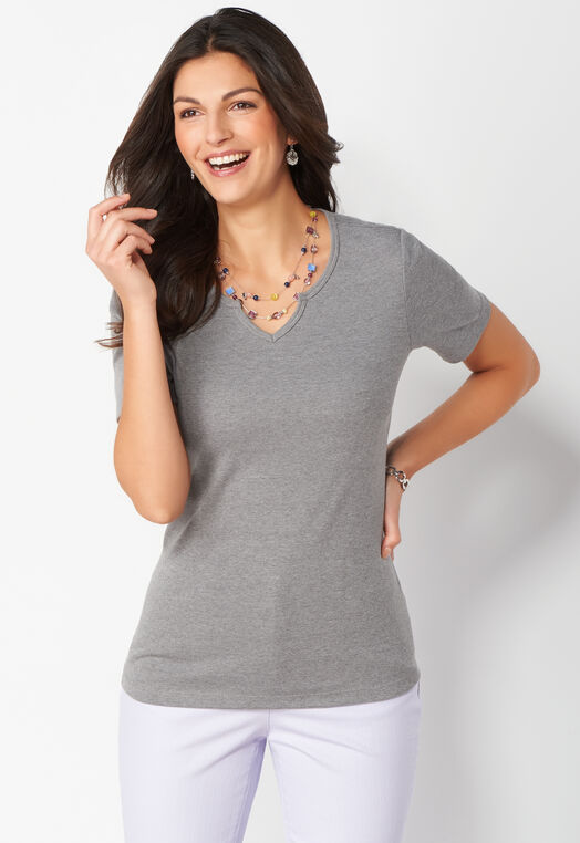 Notch Neck Heather Short Sleeve Layering Tee at Christopher & Banks in Charleston, WV   Tuggl
