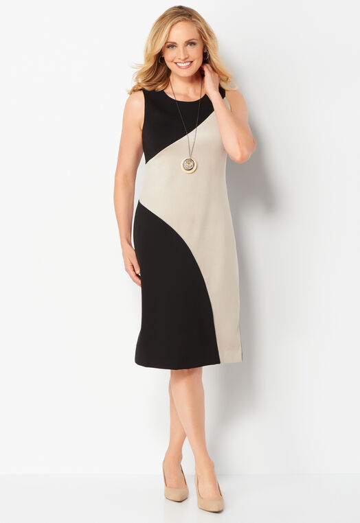 Colorblock Faux Suede Sleeveless Dress at Christopher & Banks in Charleston, WV | Tuggl