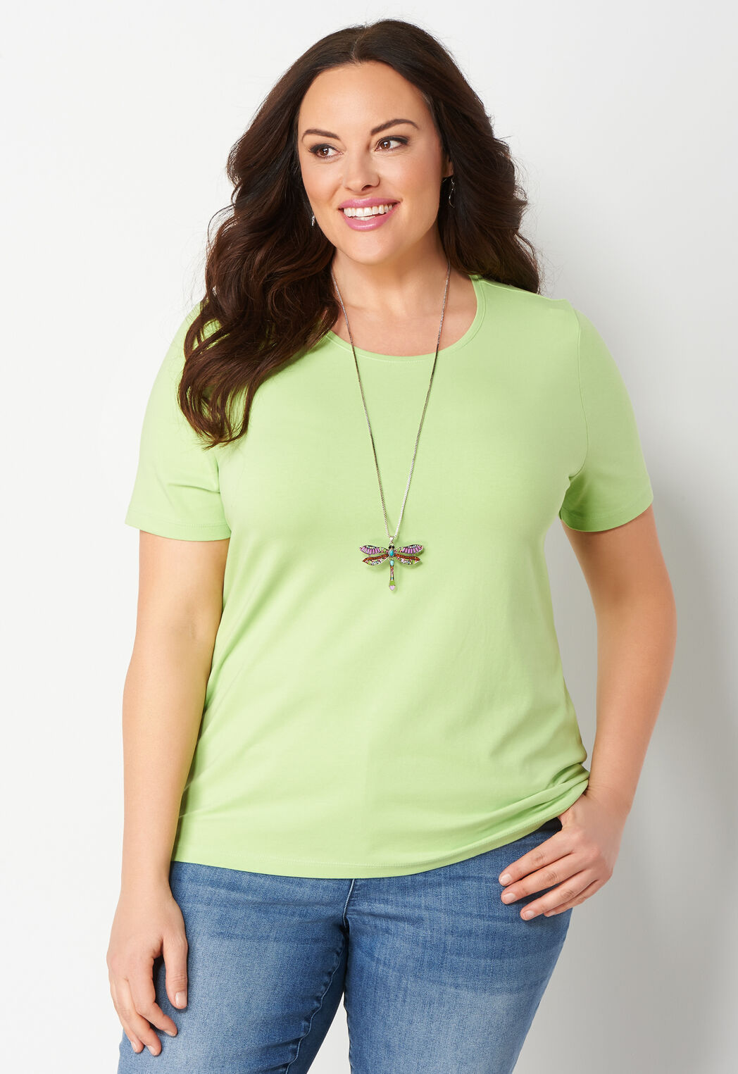 6dade8021c22f Women s Jewel Neck Essential Knit Plus Size Tee from Christopher ...