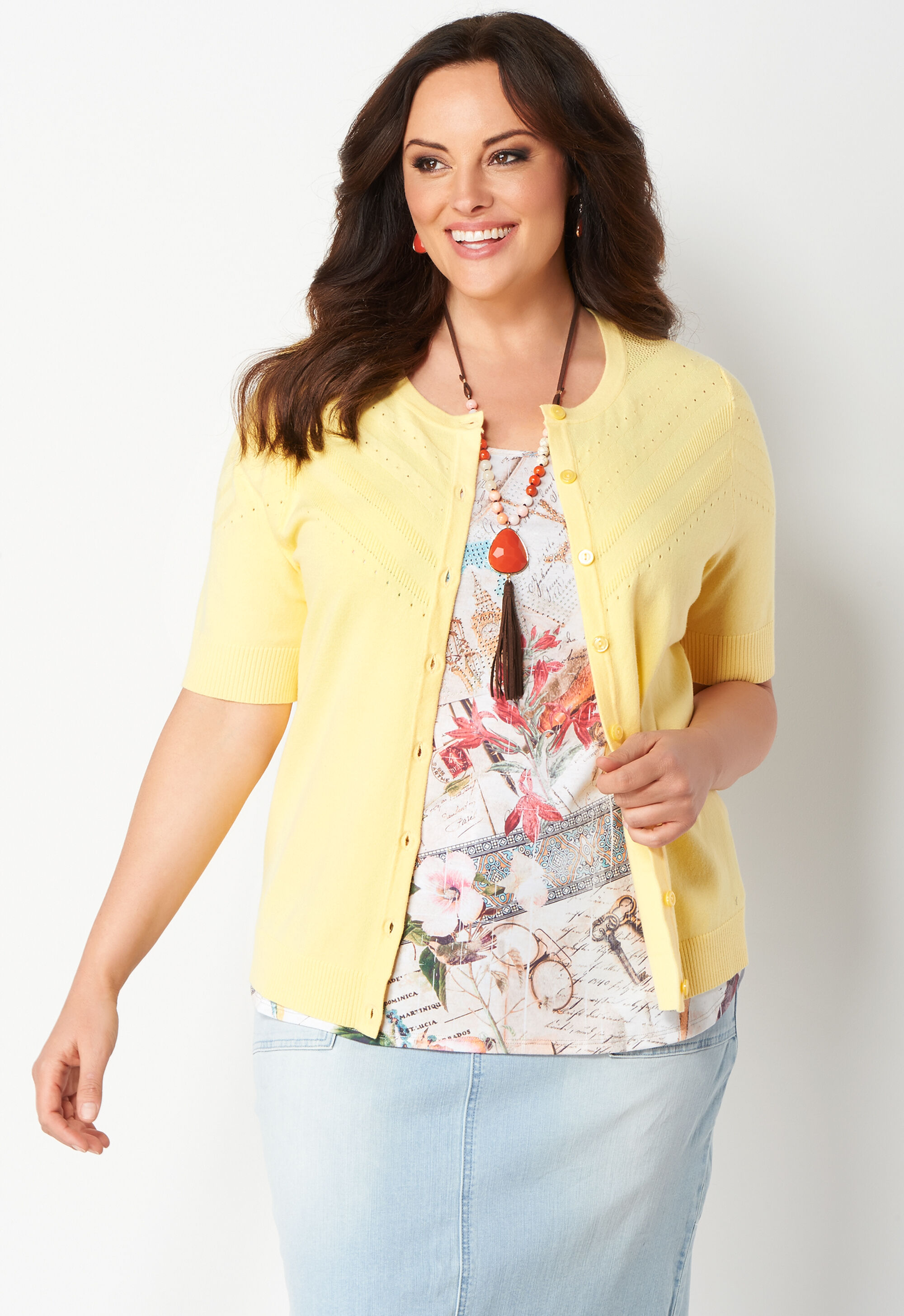 Perfect Solid Pointelle Plus Size Cardigan