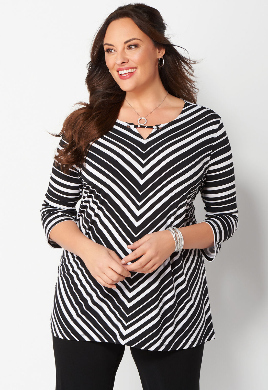 women's easy wear mitred stripe plus size top from christopher