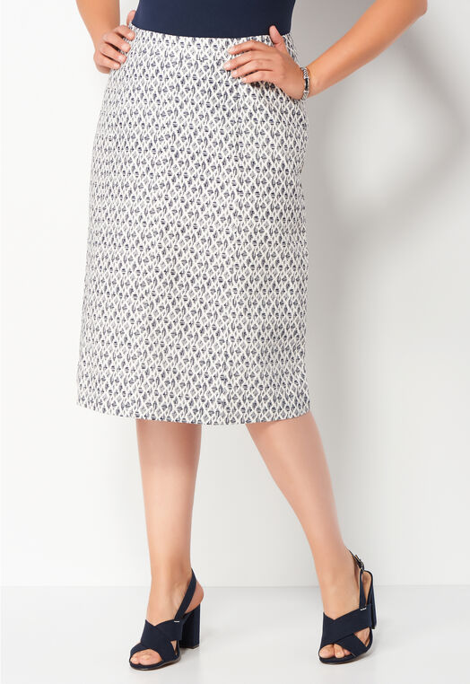 Abstract Diamonds Textured Twill Plus Size Skirt at Christopher & Banks in Charleston, WV | Tuggl