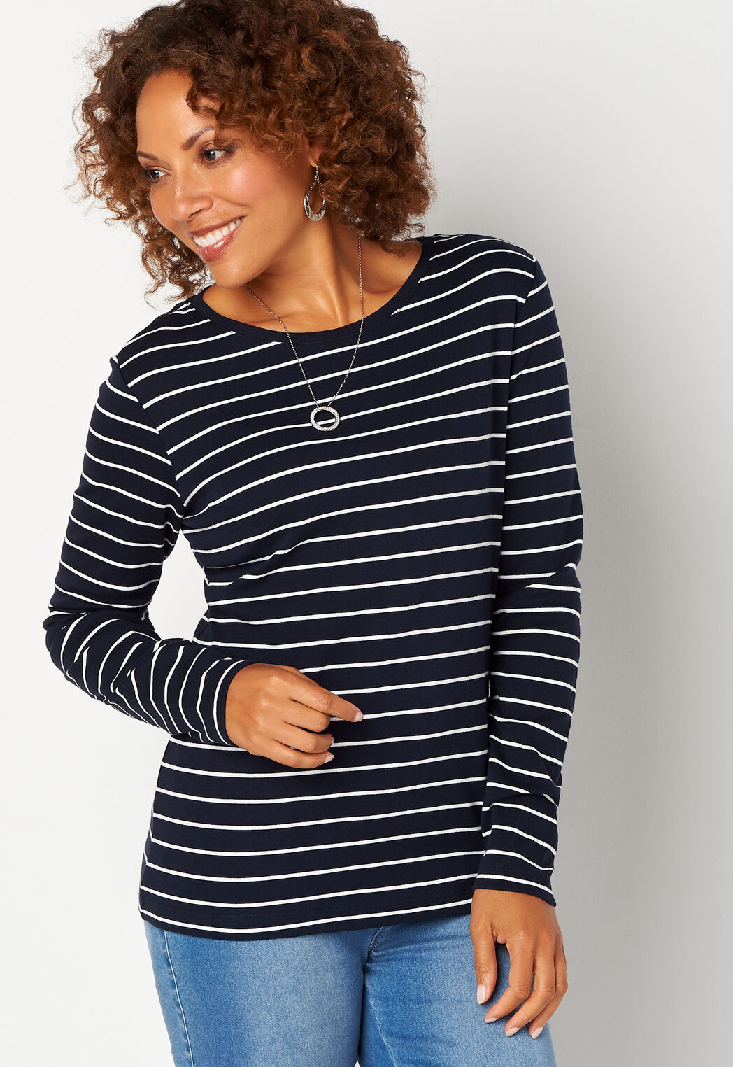 cd0d689567e ... Tops Long Sleeve Stripe Essential Crewneck Tee. add to wish list · add  to wish list